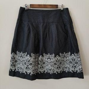 LOFT | Black skirt with white polka dots, floral